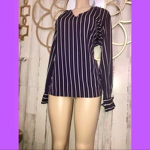 NEW Banana Republic Purple Stripe Blouse Large